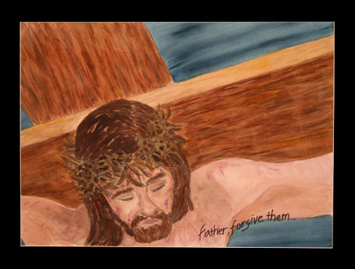 Jesus crucified. Painting © Linda E.S. Roberts, 2007. For permission to use this picture, contact Mark D. Roberts.