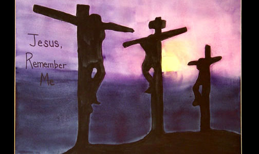 The thief asks Jesus to remember him. Painting © Linda E.S. Roberts, 2007. For permission to use this picture, contact Mark D. Roberts.