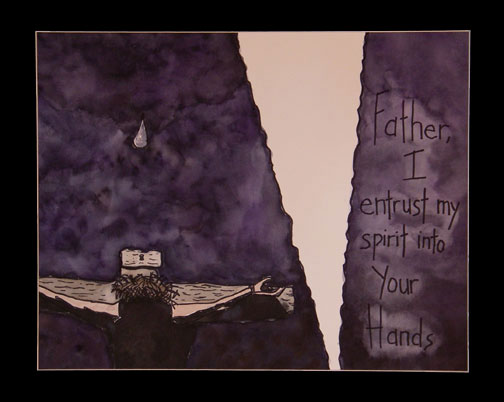 Jesus entrusts his spirit into God's hands.
