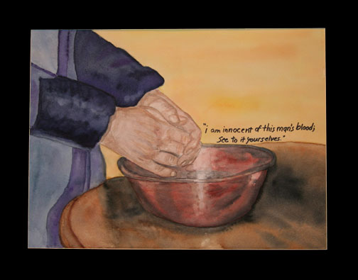 Pilate washing his hands of Jesus. Painting © Linda E.S. Roberts, 2007. For permission to use this picture, contact Mark D. Roberts.