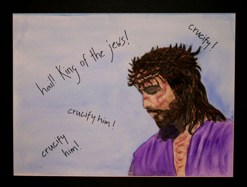 Jesus Crowned with Thorns. Painting © Linda E.S. Roberts, 2007. For permission to use this picture, contact Mark D. Roberts.