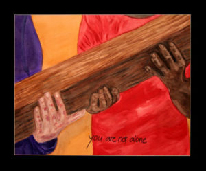 Simon of Cyrene helps Jesus to Carry the Cross. Painting © Linda E.S. Roberts, 2007. For permission to use this picture, contact Mark D. Roberts.