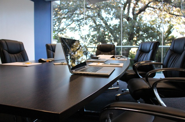 A boardroom set up for a meeting.