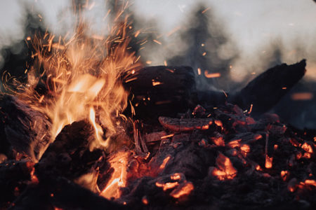 A burning campfire.