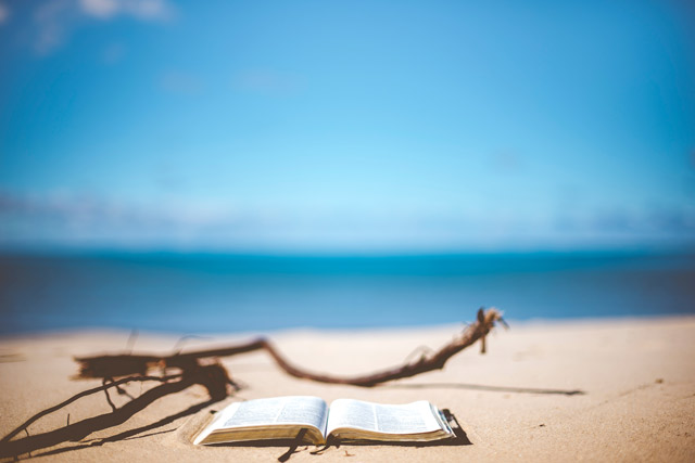 A Bible on a lakeshore.