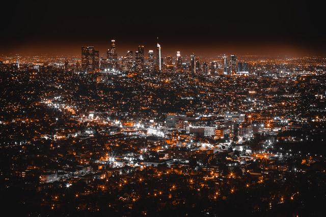Cityscape at night.