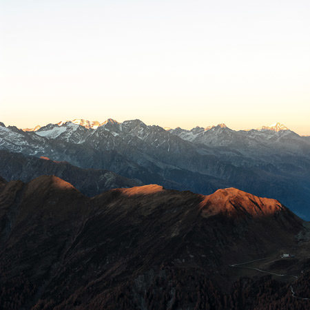 Mountain peaks at the beginning of Golden Hour.