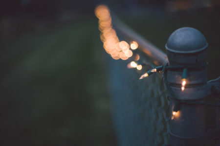 Christmas lights strung on a fence.