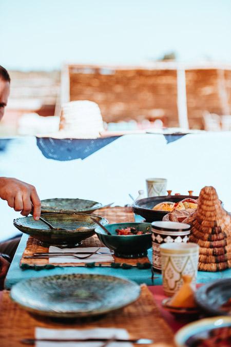 A man serving food.