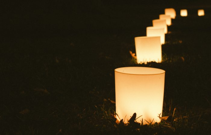 Lamps lighting a path at night