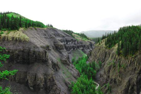 Mountains around Abraham Lake in Canada