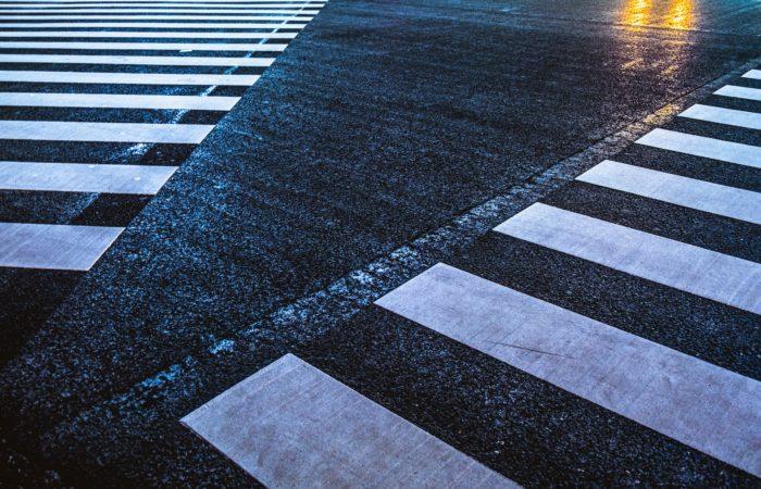 Two crosswalks meeting in a road