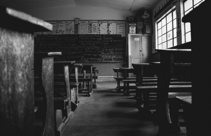 Black and white image of a classroom