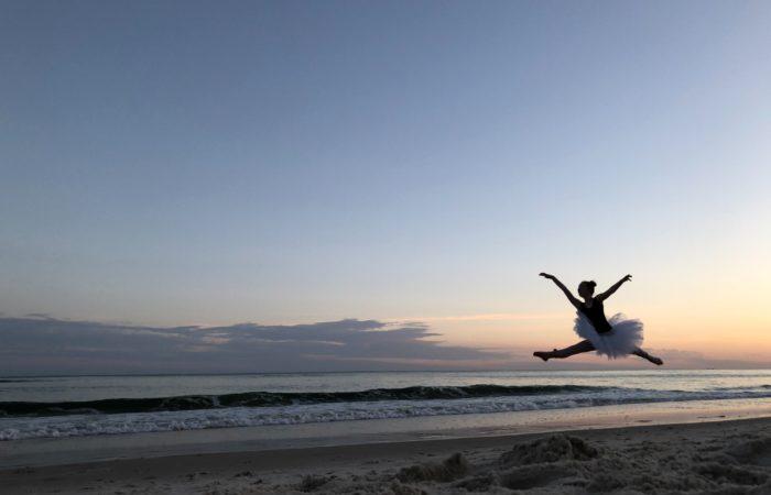 ballerina on sunset beach