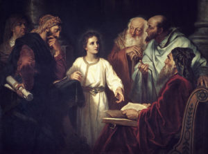 "Heinrich Hofmann, painting ""Jesus Among the Doctors"" (1884)."