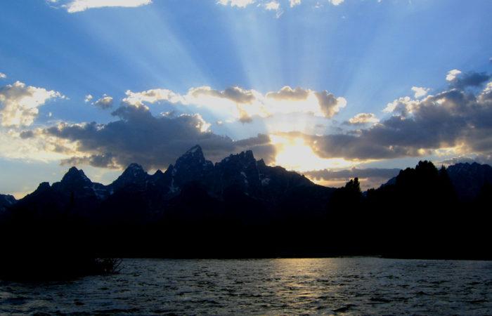 The Grand Tetons at sunset