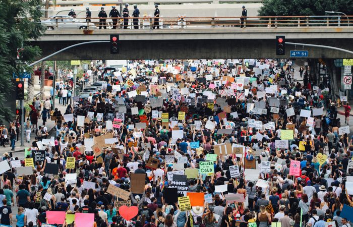 A crowd protesting in Los Angeles