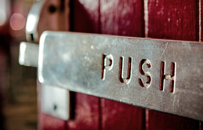 """A """"PUSH"""" sign on a door"""