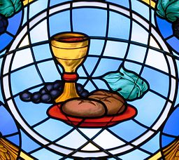 St. Michael the Archangel Parish, Findlay, Ohio; Eucharistic stained glass window depicting bread and wine