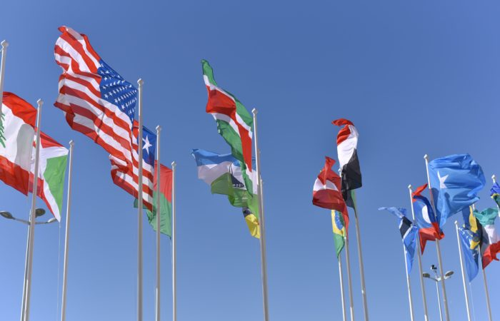 A number of national flags, including the U.S. flag, flying in the breeze