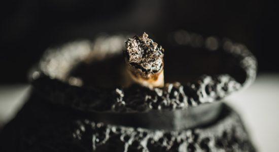 smoking tray ashes