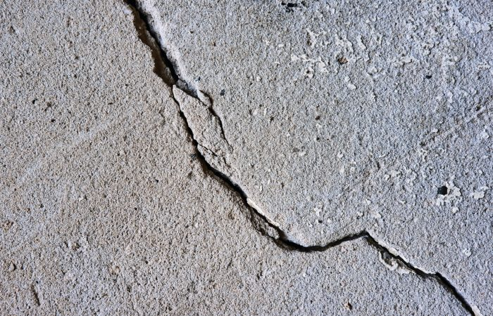 A crack running across concrete