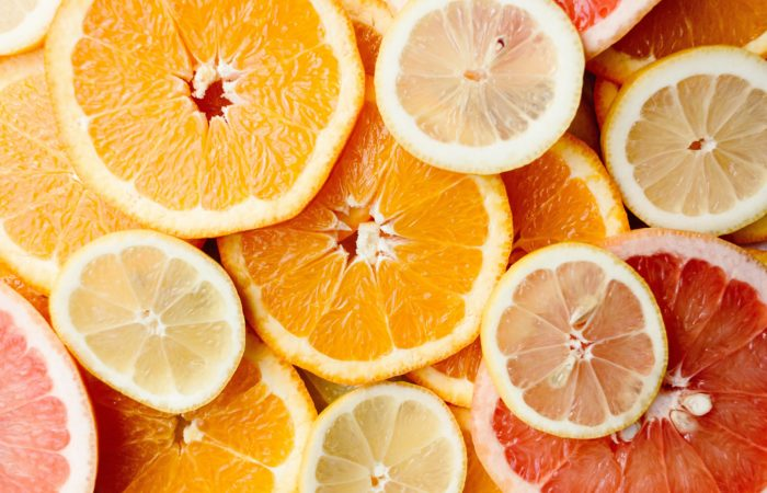 Orange, grapefruit, and lemon slices