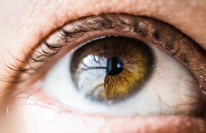 A person's large hazel eye