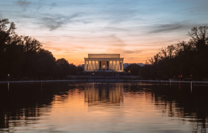 The Lincoln Memorial at sunset