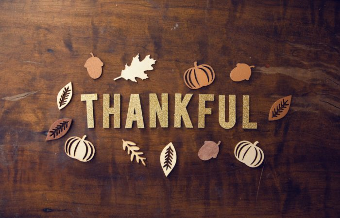 """The word """"Thankful"""" surrounded by images of fall"""