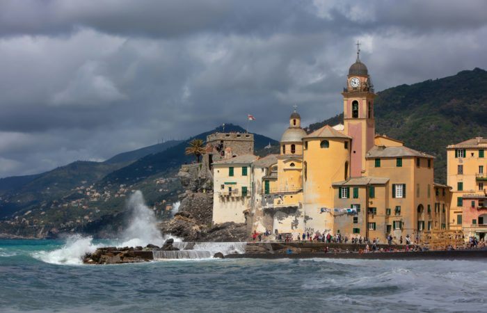 A beautiful old town hall beside the sea in Camogli, Italy
