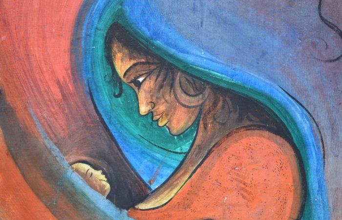A modern art representation of the Virgin Mary holding Jesus
