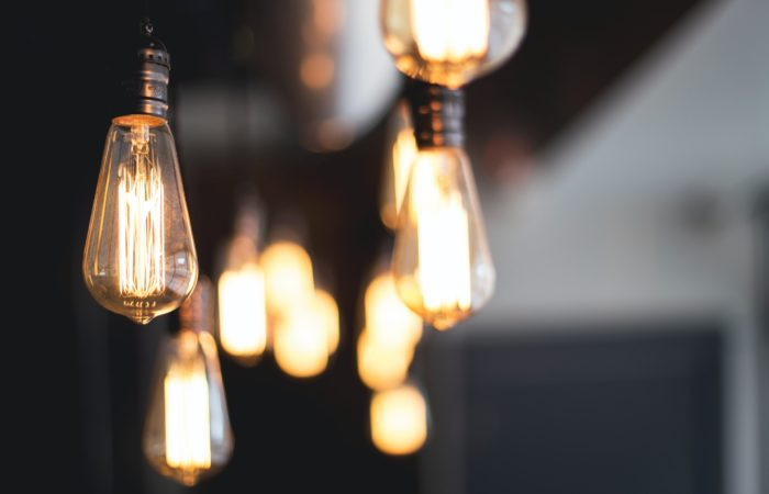 A set of hanging light bulbs