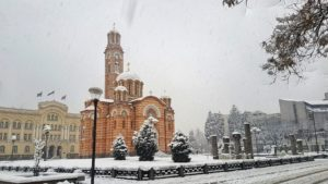 A beautiful Orthodox church in a snowstorm