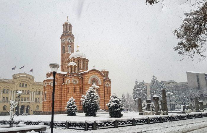 A beautiful Orthodox church in a snowstorm