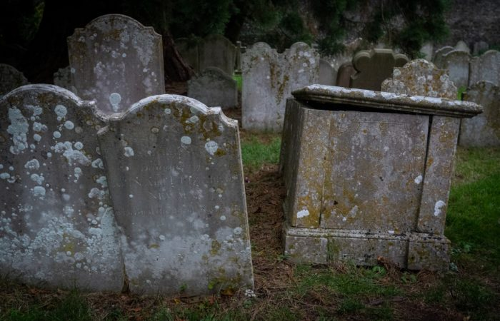 Very old gravestones in a cemetery