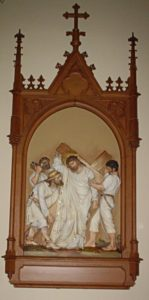 The fifth Station of the Cross where Simon of Cyrene assists Jesus in carrying the cross