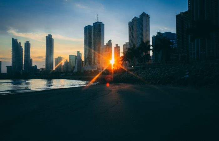 The skyline of Panama City at sunset