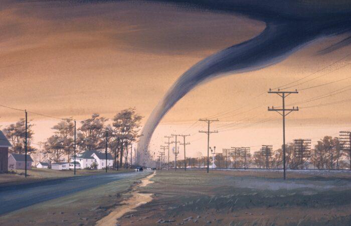 An artist's rendition of a tornado against an orange sky, destroying a house.