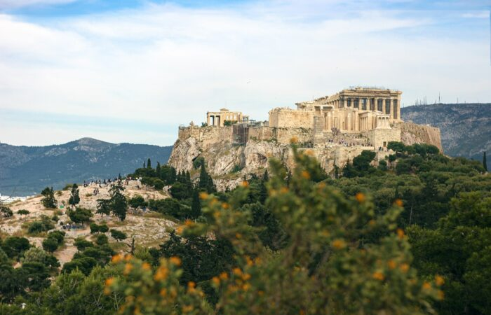 The Acropolis on top of Areopagus Hill in Greece
