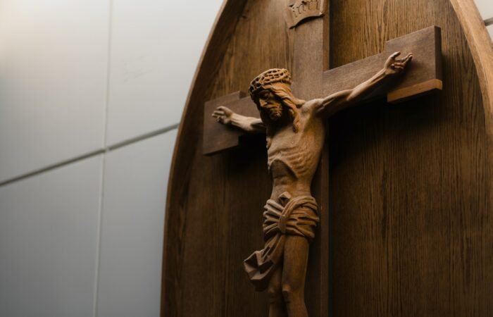 A beautiful wooden crucifix on the wall of a church