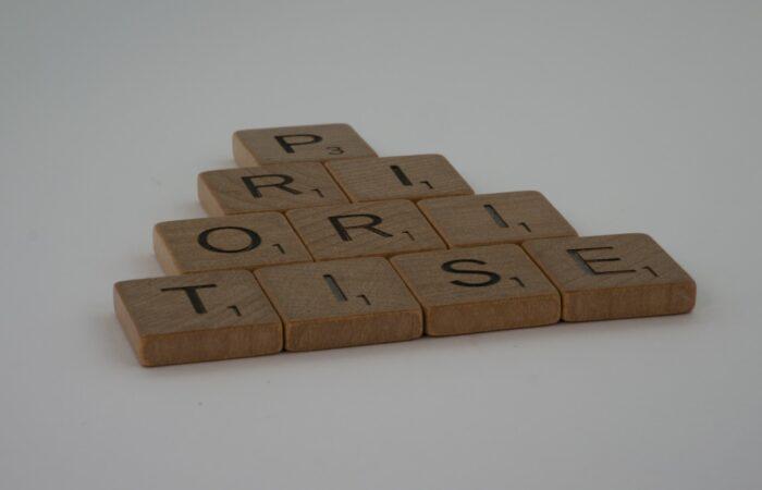 """Scrabble tiles spelling """"prioritise"""""""